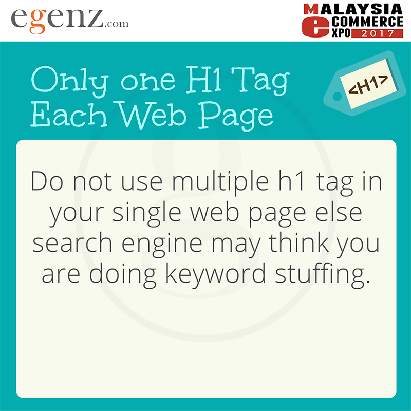 Only One H1 Tag Each Webpage