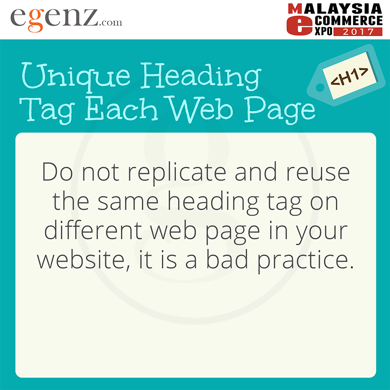 Unique Heading Tag Each Web page