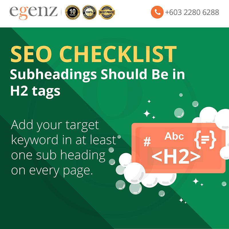 Target keyword in 1 sub heading