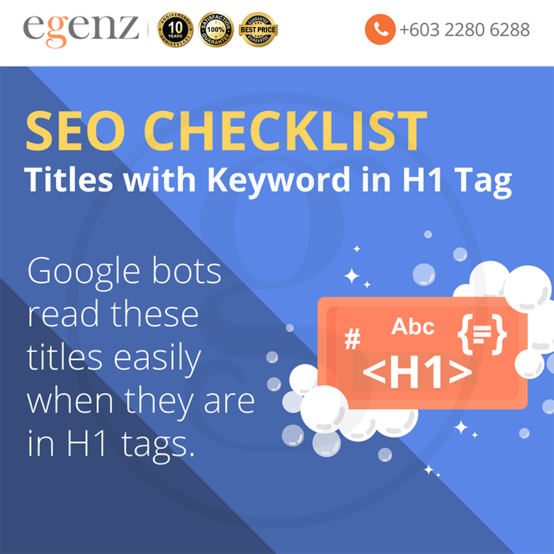 Titles with keyword in H1 Tag