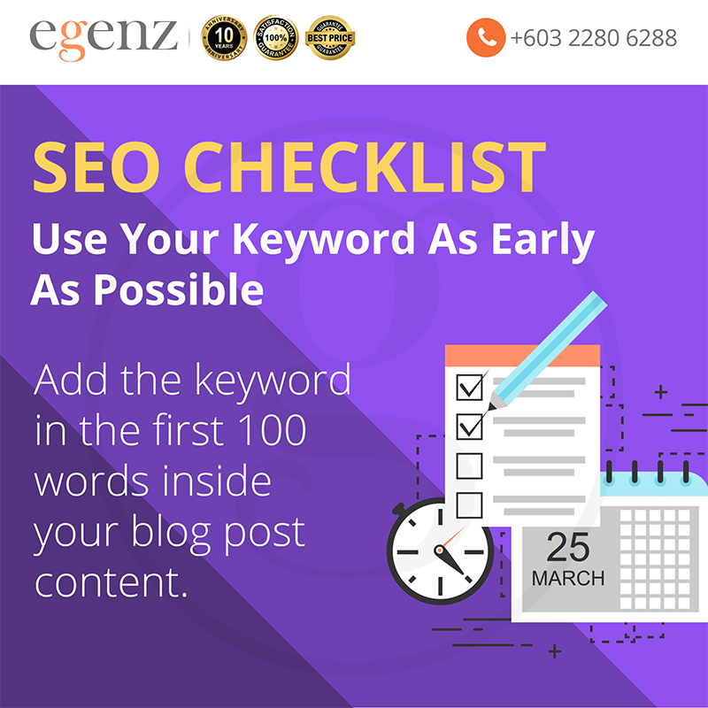 Use Keyword in first 100 words
